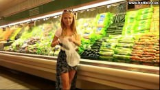 Girlfriend Fucks Cucumber in Public Supermarket