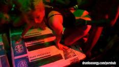 Shameless pornstars fucked in public at sex party