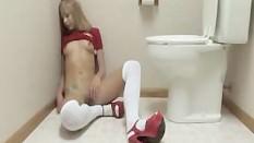Teen Takes Wall-Dildo In Toilet