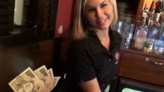 Gorgeous blonde bartender is talked into having sex at work