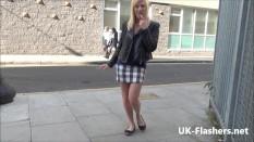 Blonde babe Axa Jays public flashing and voyeur showering of sexy exhibit
