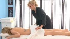 Molly Bennet and Brett Rossi Lesbian Massage